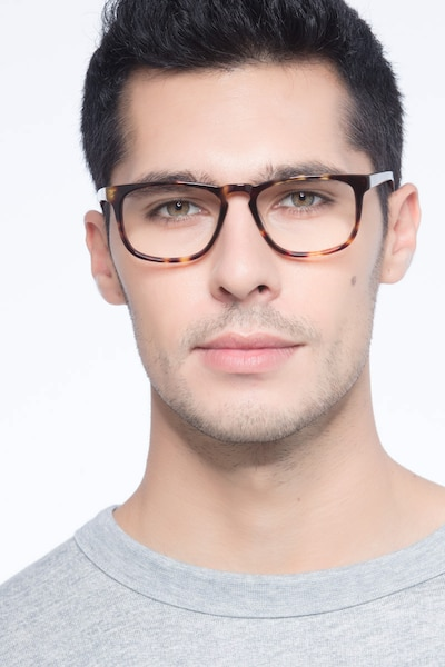 Rhode Island Tortoise Acetate Eyeglass Frames for Men from EyeBuyDirect, Front View