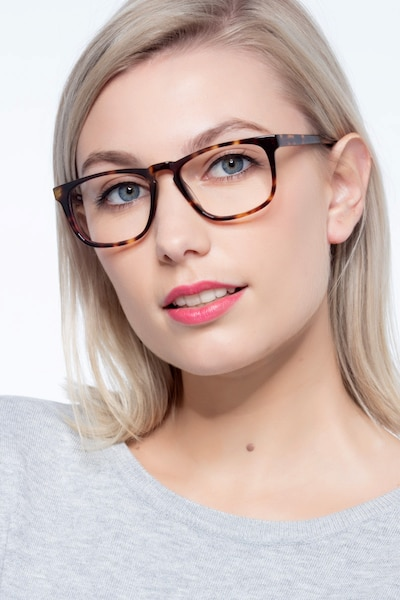 Rhode Island Tortoise Acetate Eyeglass Frames for Women from EyeBuyDirect, Front View