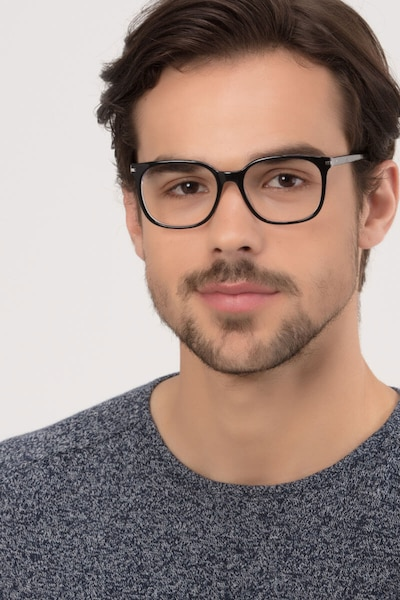 Absolutely Black Acetate Eyeglass Frames for Men from EyeBuyDirect, Front View