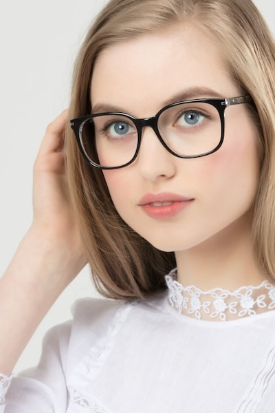 Absolutely Black Acetate Eyeglass Frames for Women from EyeBuyDirect, Front View