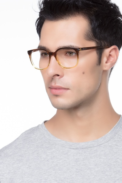 Absolutely Brown Acetate Eyeglass Frames for Men from EyeBuyDirect, Front View