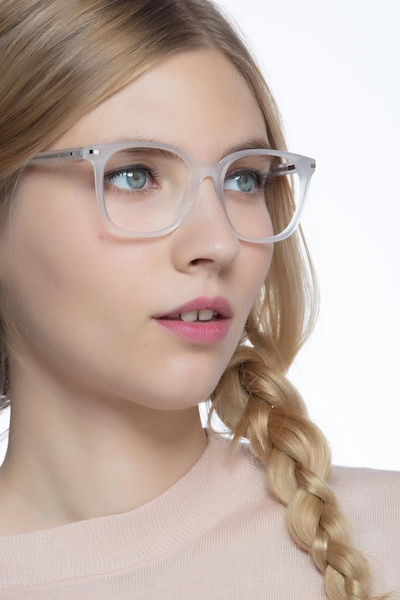 Absolutely White Acetate Eyeglass Frames for Women from EyeBuyDirect