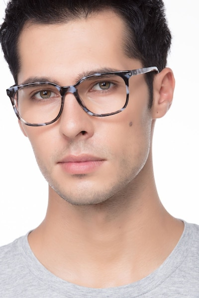 Absolutely Gray Floral Acetate Eyeglass Frames for Men from EyeBuyDirect, Front View