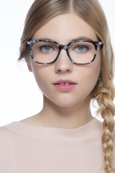 Absolutely Gray Floral Acetate Eyeglass Frames for Women from EyeBuyDirect, Front View
