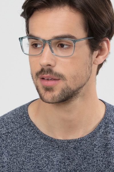 Constellation Clear Blue Acetate Eyeglass Frames for Men from EyeBuyDirect, Front View