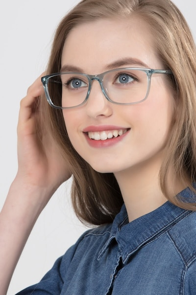 Constellation Clear Blue Acetate Eyeglass Frames for Women from EyeBuyDirect, Front View