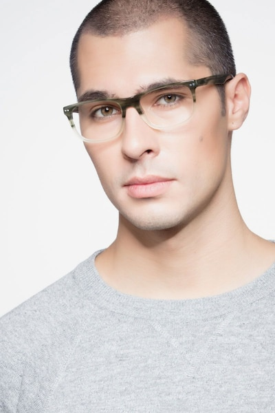 Koi Green Acetate Eyeglass Frames for Men from EyeBuyDirect, Front View