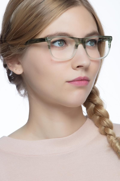 Koi Green Acetate Eyeglass Frames for Women from EyeBuyDirect, Front View