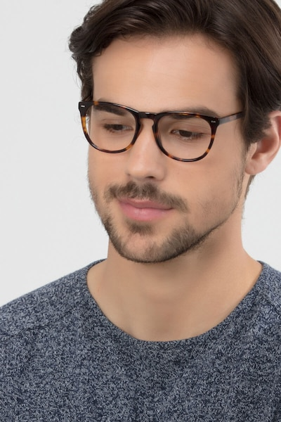 Divina Tortoise Acetate Eyeglass Frames for Men from EyeBuyDirect, Front View
