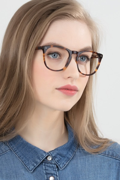 Divina Tortoise Acetate Eyeglass Frames for Women from EyeBuyDirect, Front View
