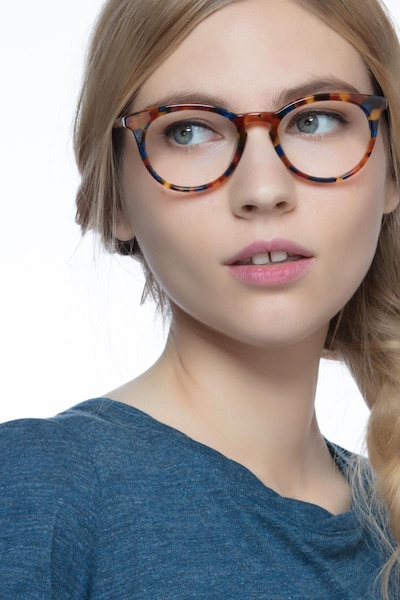 Griffin Amber & Navy Acetate Eyeglass Frames for Women from EyeBuyDirect, Front View