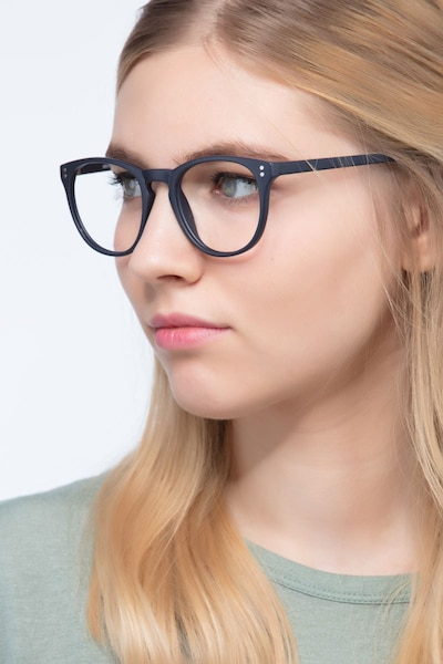 Legendary Navy Plastic Eyeglass Frames for Women from EyeBuyDirect, Front View