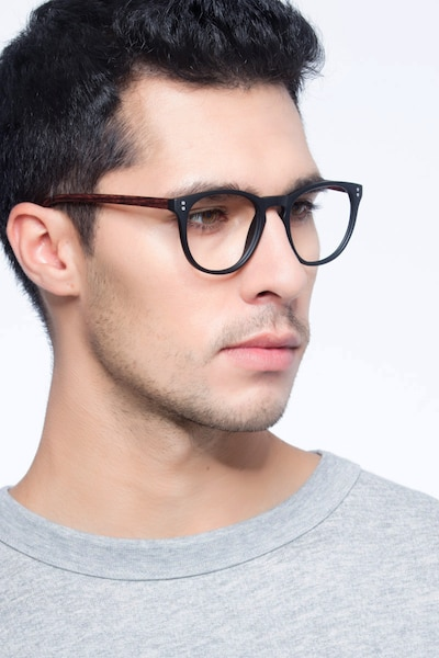 Legendary Black & Brown Plastic Eyeglass Frames for Men from EyeBuyDirect, Front View