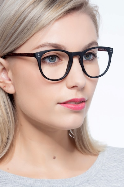 Legendary Black & Brown Plastic Eyeglass Frames for Women from EyeBuyDirect, Front View