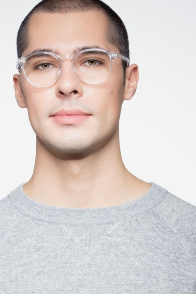 Revolution Clear Plastic Eyeglass Frames for Men from EyeBuyDirect, Front View