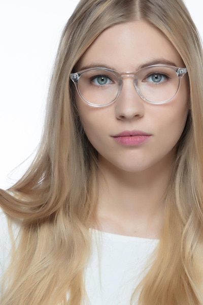 Revolution Clear Plastic Eyeglass Frames for Women from EyeBuyDirect, Front View