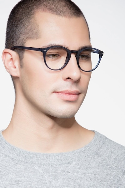 Revolution Navy Plastic Eyeglass Frames for Men from EyeBuyDirect, Front View