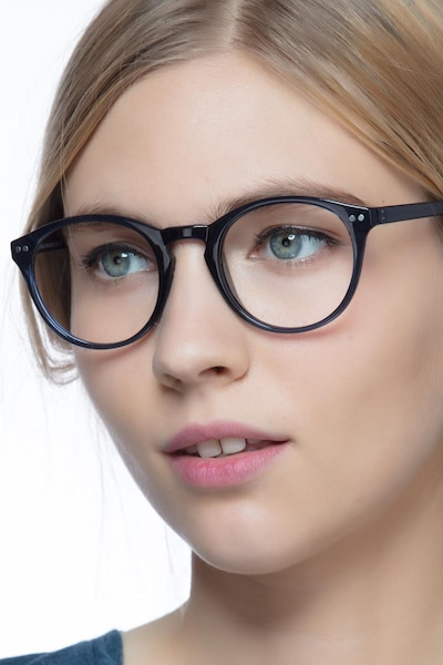 Revolution Navy Plastic Eyeglass Frames for Women from EyeBuyDirect