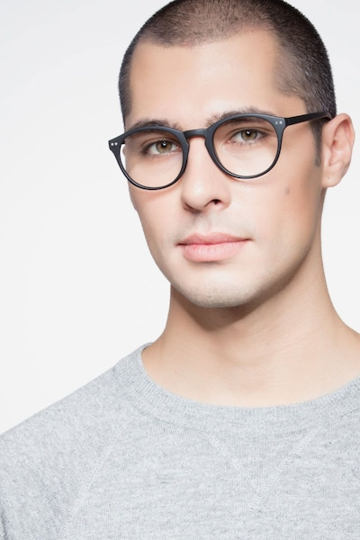 Revolution Matte Black Plastic Eyeglass Frames for Men from EyeBuyDirect, Front View