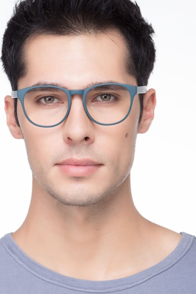 Heartbeat Matte Green Plastic Eyeglass Frames for Men from EyeBuyDirect, Front View