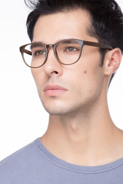 Heartbeat Dark Brown Plastic Eyeglass Frames for Men from EyeBuyDirect, Front View
