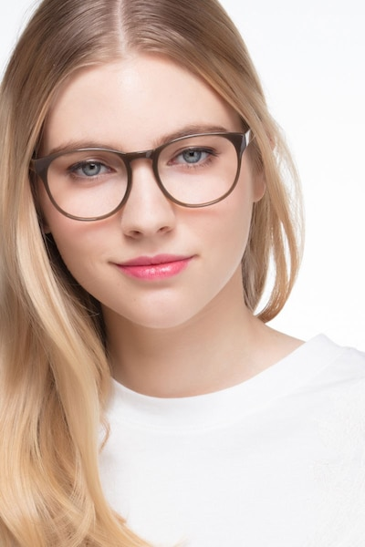 Heartbeat Dark Brown Plastic Eyeglass Frames for Women from EyeBuyDirect, Front View