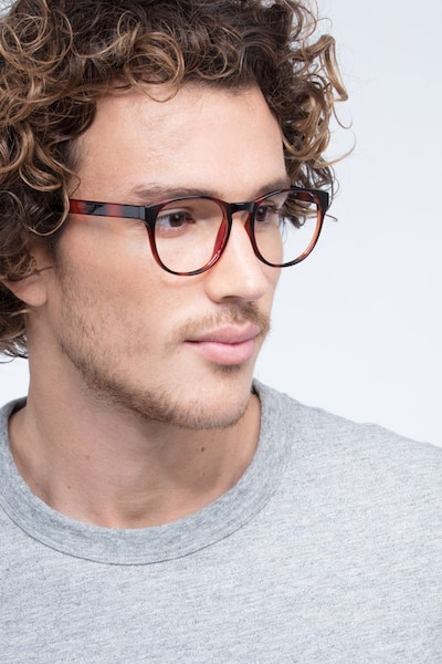 Heartbeat Brown Plastic Eyeglass Frames for Men from EyeBuyDirect, Front View