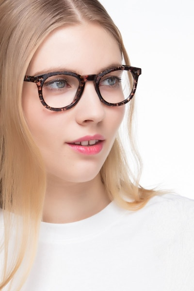 Solar Black Floral Plastic Eyeglass Frames for Women from EyeBuyDirect, Front View