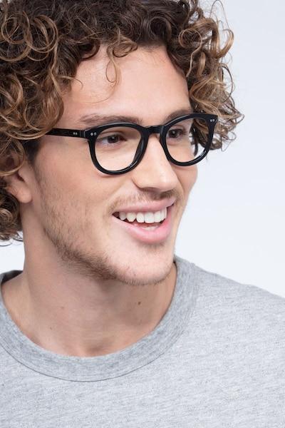 Solar Black Plastic Eyeglass Frames for Men from EyeBuyDirect, Front View