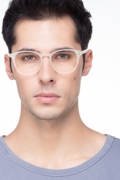 Myth Matte White Plastic Eyeglass Frames for Men from EyeBuyDirect, Front View