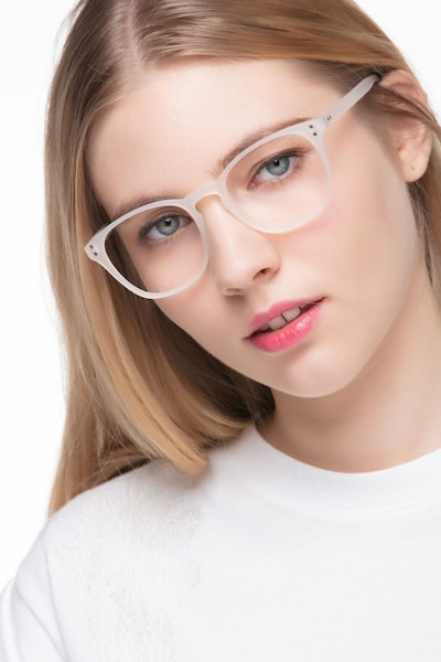 Myth Matte White Plastic Eyeglass Frames for Women from EyeBuyDirect, Front View
