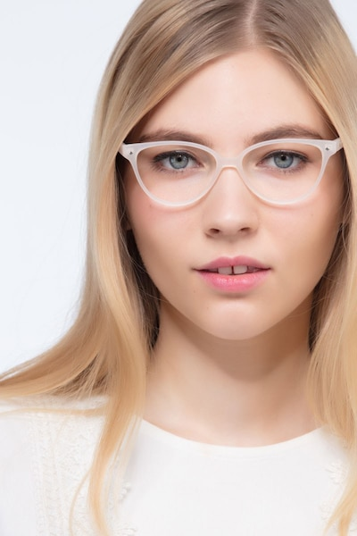 Dame Matte Clear Plastic Eyeglass Frames for Women from EyeBuyDirect, Front View