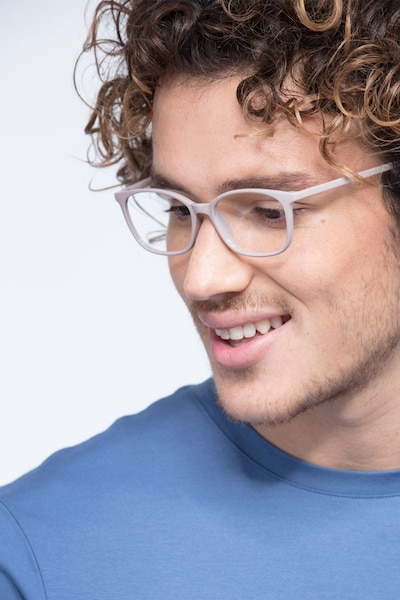 Glider Gray Plastic Eyeglass Frames for Men from EyeBuyDirect, Front View