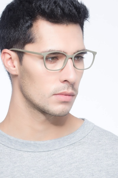 Glider Olive Green Plastic Eyeglass Frames for Men from EyeBuyDirect, Front View