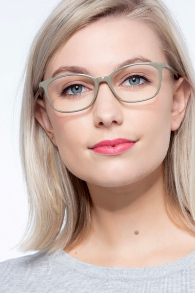 Glider Olive Green Plastic Eyeglass Frames for Women from EyeBuyDirect, Front View