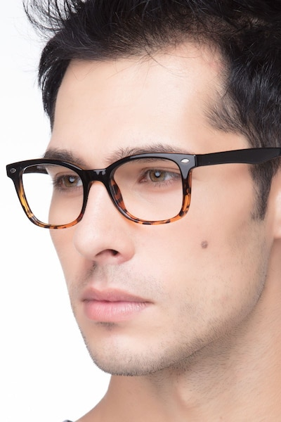 Drama Black Brown Plastic Eyeglass Frames for Men from EyeBuyDirect