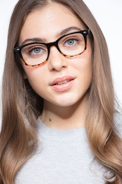 Drama Black Brown Plastic Eyeglass Frames for Women from EyeBuyDirect, Front View