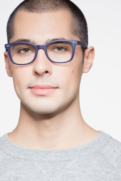 Drama Navy Plastic Eyeglass Frames for Men from EyeBuyDirect, Front View