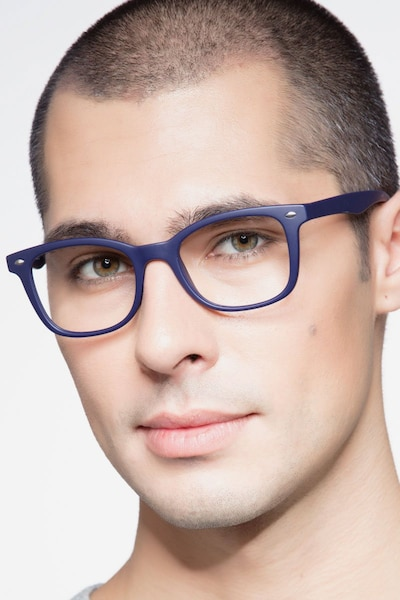 Drama Navy Plastic Eyeglass Frames for Men from EyeBuyDirect
