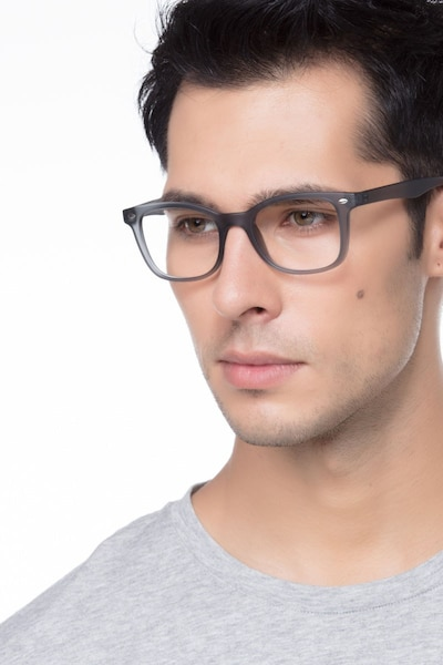 Drama Matte Gray Plastic Eyeglass Frames for Men from EyeBuyDirect, Front View
