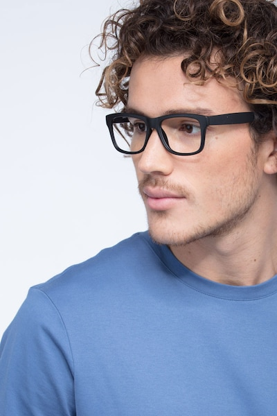 Gamble Matte Black Plastic Eyeglass Frames for Men from EyeBuyDirect, Front View