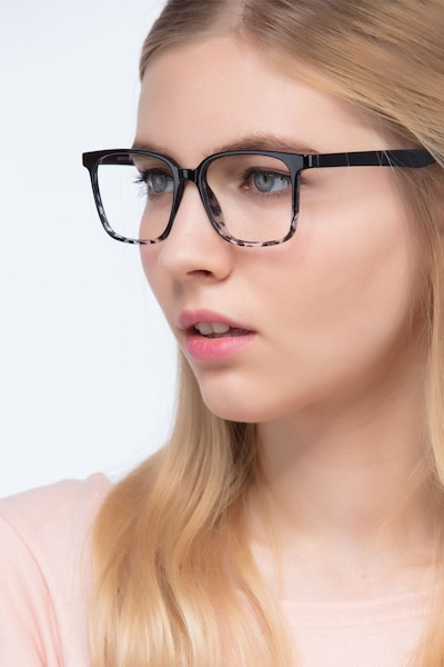 Blocks Black Clear Plastic Eyeglass Frames for Women from EyeBuyDirect, Front View