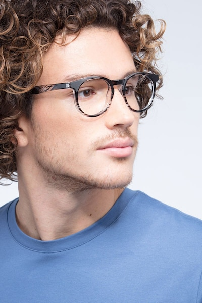 Thrill Black clear Plastic Eyeglass Frames for Men from EyeBuyDirect, Front View
