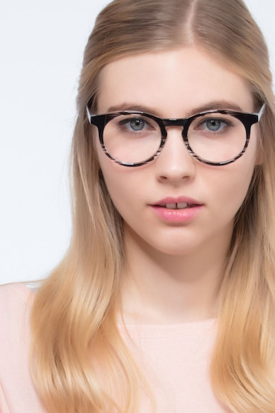 Thrill Black clear Plastic Eyeglass Frames for Women from EyeBuyDirect, Front View