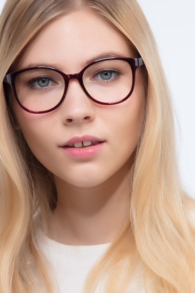 The Beat Burgundy Plastic Eyeglass Frames for Women from EyeBuyDirect, Front View