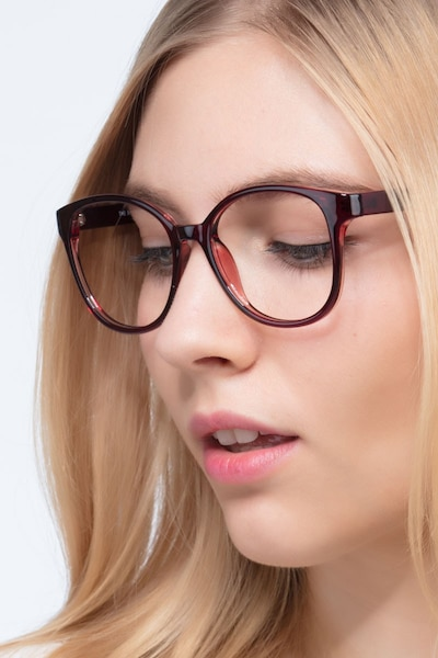 The Beat Burgundy Plastic Eyeglass Frames for Women from EyeBuyDirect
