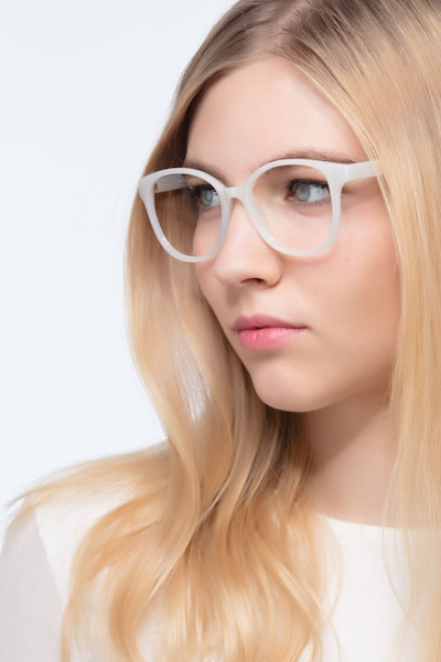 The Beat White Plastic Eyeglass Frames for Women from EyeBuyDirect, Front View