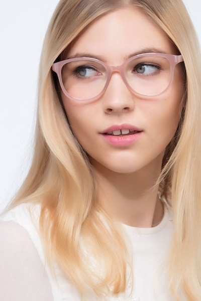 The Beat Pink Plastic Eyeglass Frames for Women from EyeBuyDirect, Front View