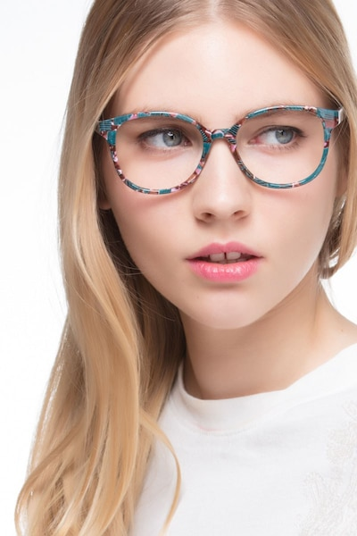 The Beat Floral Plastic Eyeglass Frames for Women from EyeBuyDirect, Front View