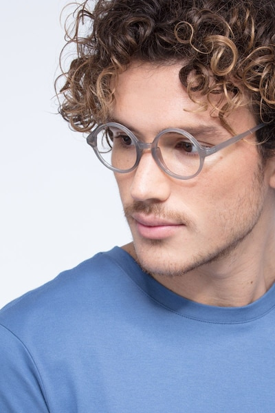 Years Gray Clear Plastic Eyeglass Frames for Men from EyeBuyDirect, Front View